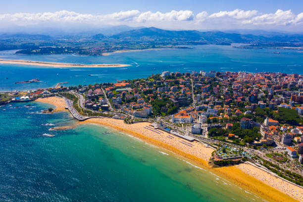 Coast at Santander cityscape with apartment buildings, Cantabria Aerial view of coast at Santander cityscape with a modern apartment buildings, Cantabria, Spain cantabria stock pictures, royalty-free photos & images