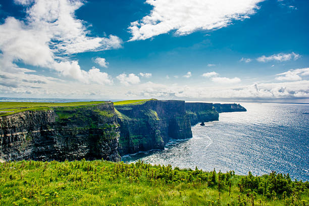 coast at the cliffs of moher in ireland - cliffs of moher stock pictures, royalty-free photos & images