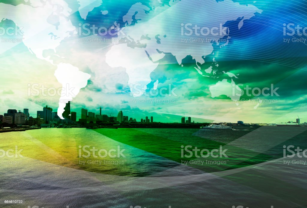 coast city and global business, abstract image visual stock photo