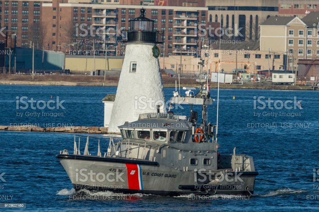 U.S. Coast Guard 47-foot motor lifeboat Menemsha on Acushnet River stock photo