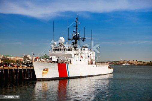 Harbour ships float in Massachusetts USA