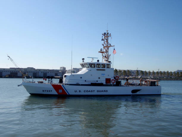 US Coast Guard Boat in McCovey Cove San Francisco - November 19, 2009:  US Coast Guard Boat in McCovey Cove. aegis stock pictures, royalty-free photos & images