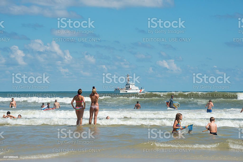 US Coast Guard coastal patrol boat at the beach stock photo