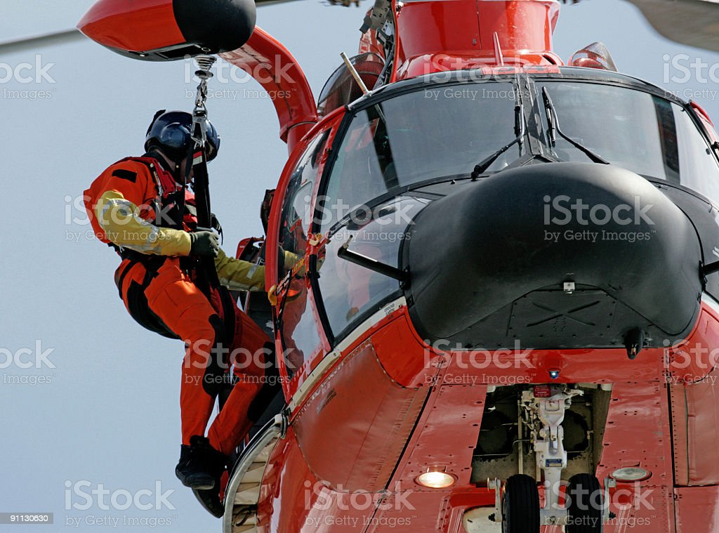 Coast Guard helicopter rescuer in San Francisco stock photo
