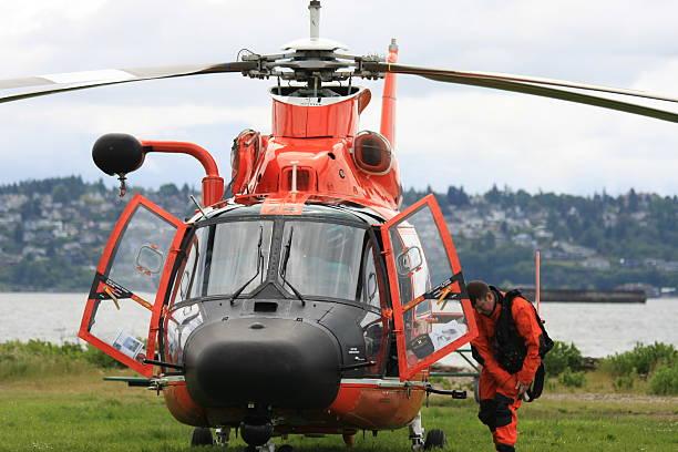 Coast Guard Helipoter and Pilot stock photo