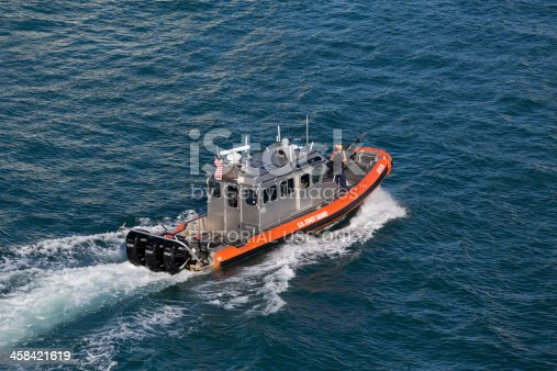Miami, Florida, USA - September 30, 2013: US coast guard in speed boat on duty in the port of Miami, Florida. Aerial view. People present in the photo.