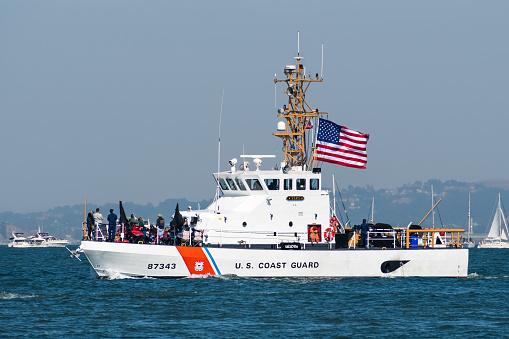 U.S. Coast Guard ship cruising in the San Francisco Bay