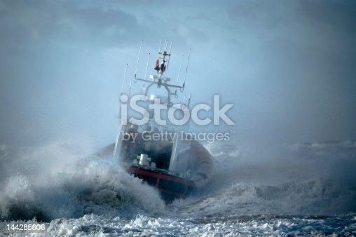 coast guard during storm in ocean