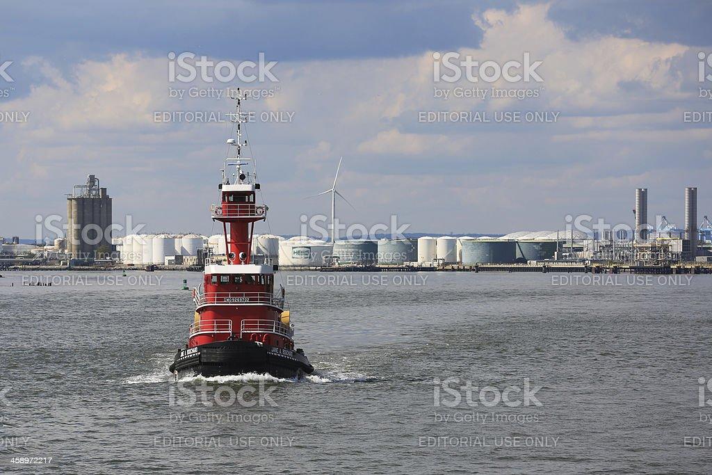 Coast Guard ship on East River, New York City royalty-free stock photo