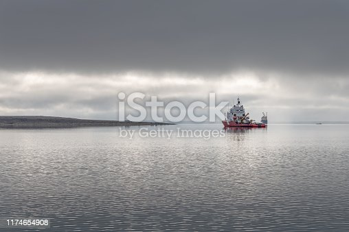 Coast Guard Ship in Cambridge Bay Harbour on the Arctic Ocean