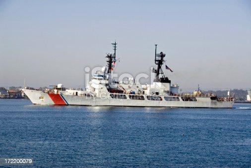 US Coast Guard Ship Entering San Diego Harbor. Crew seen on deck.