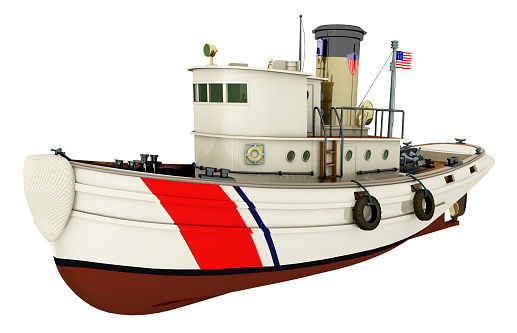 Computer generated 3D illustration with a coast guard tug isolated on white background