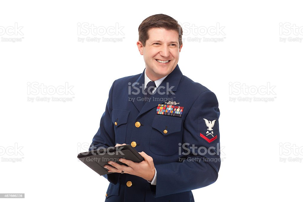 Coast guard using digital tablet stock photo