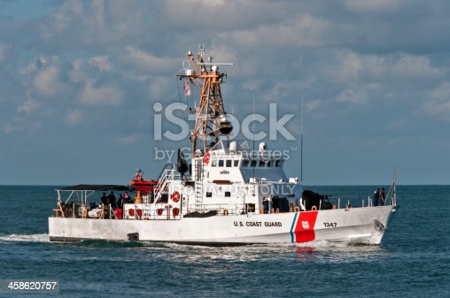 Key West, Florida, USA - December, 1st 2007: US Coast Guard vessel sail off the coast of Key West.