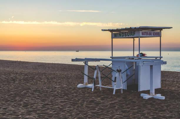 Coast in Spain Costa Brava, gazebo for surfing stock photo
