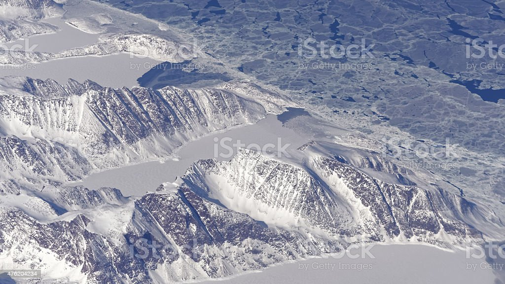 Coast of Baffin Island seen from a plane stock photo