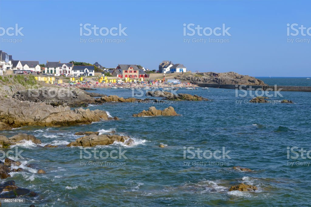 Coast of Batz-sur-Mer in France stock photo