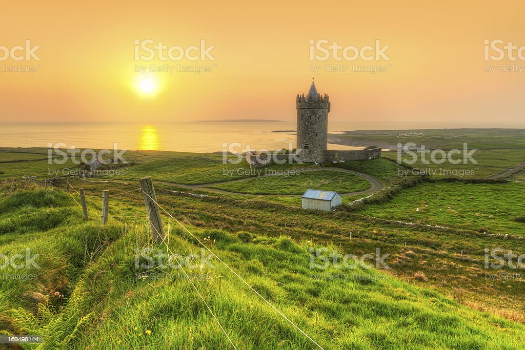 Coast of Co. Clare at sunset in Ireland royalty-free stock photo