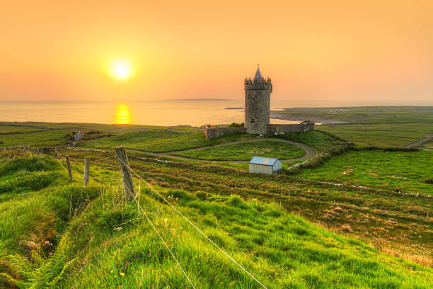Coast of Co. Clare at sunset in Ireland stock photo