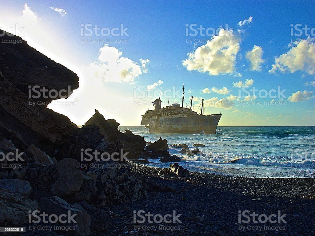 SS AMERICAN STAR - coast of Fuerteventura stock photo