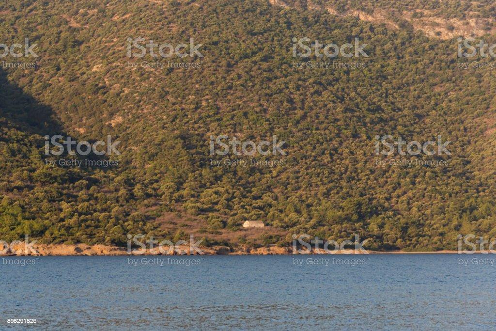 coast of gokova bay in aegean sea near bodrum mugla turkey stock photo