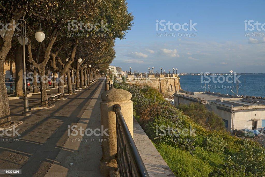Coast of Ionian sea in Taranto stock photo