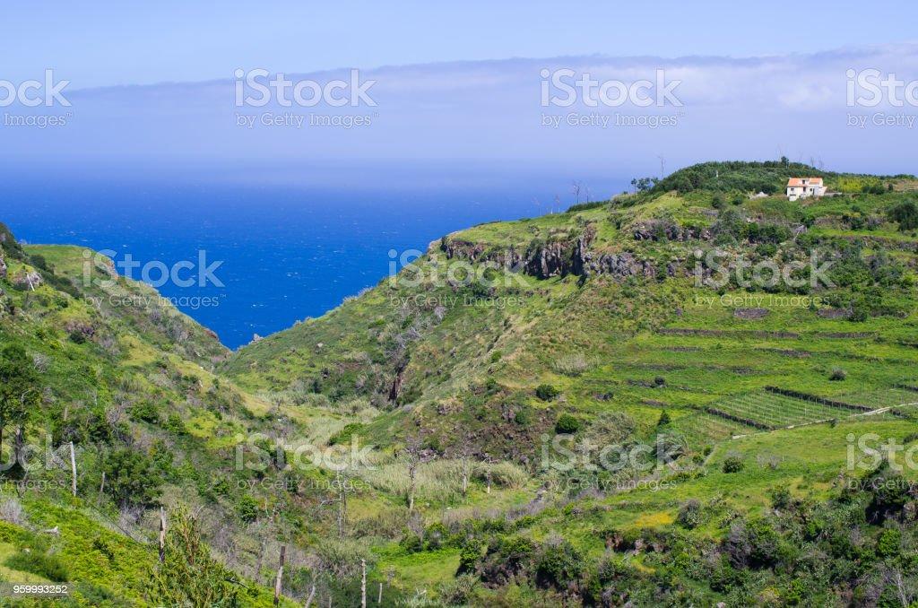 Coast of Madeira island, Ponta do Pargo, Portugal stock photo