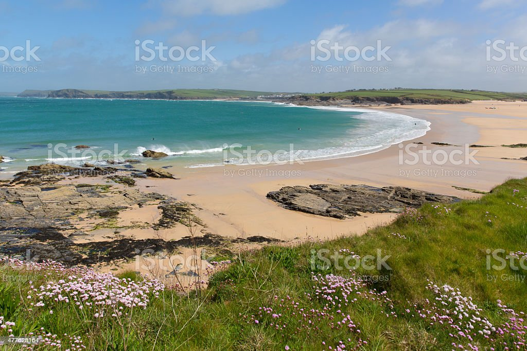 Coast of North Cornwall England UK Harlyn Bay near Padstow stock photo