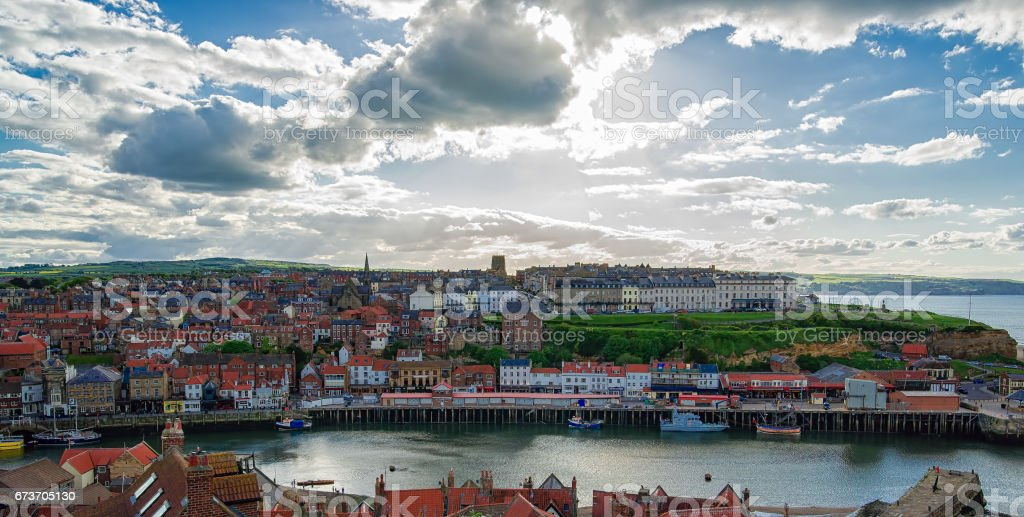 Coast of North Sea in Whitby of North Yorkshire UK stock photo