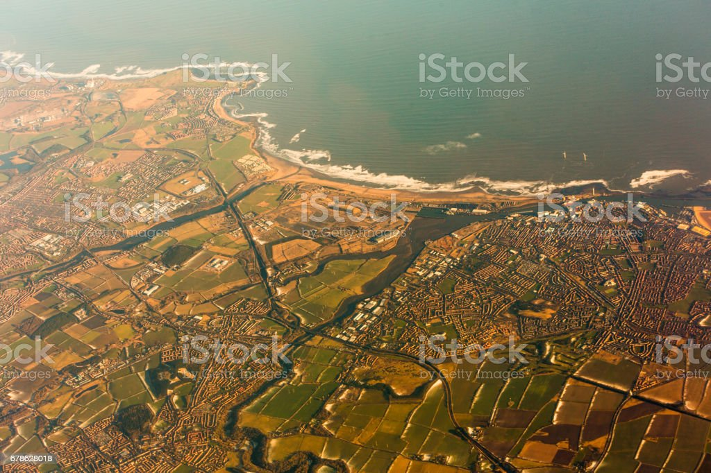 coast of north sea near edinburgh england- aerial view stock photo