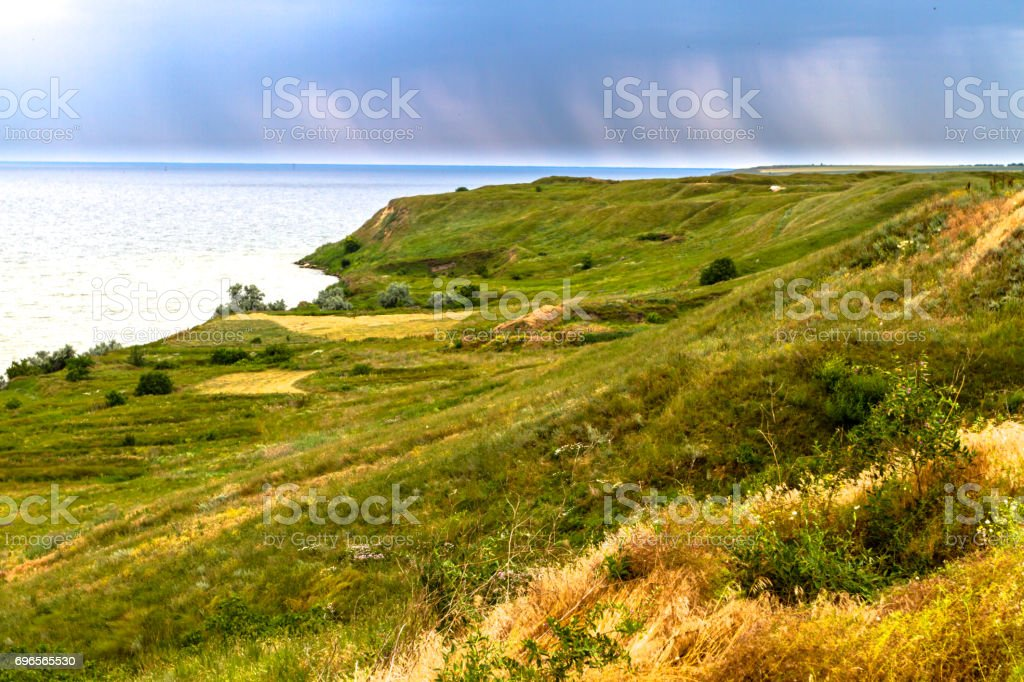 Coast of Olbia, Ukraine. Sea, grass, meadow, antiquity. stock photo