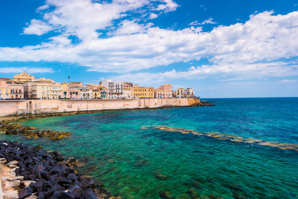 Coast of Ortigia island at city of Syracuse stock photo