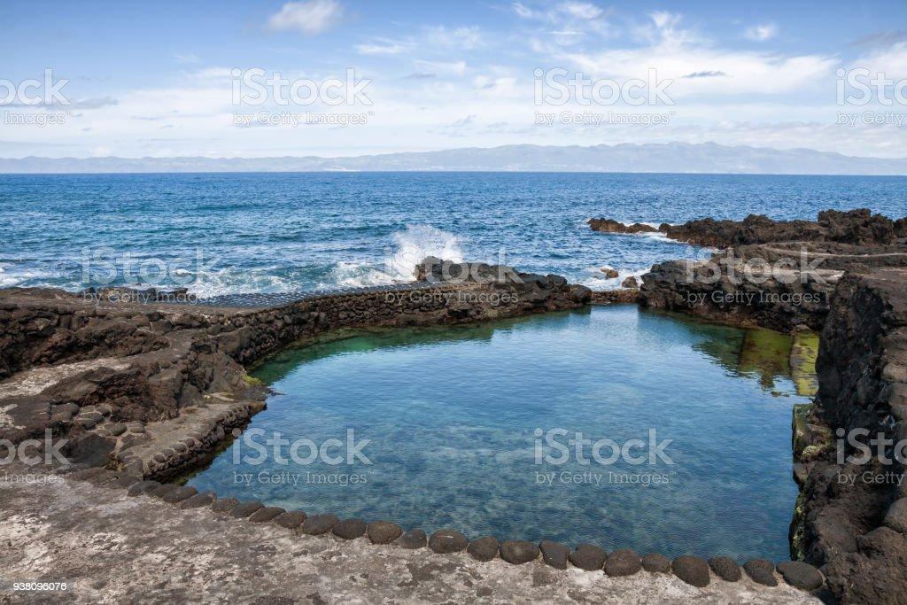 Kuste Von Pico Insel Kunstlich Angelegten Strand Azoren Stock