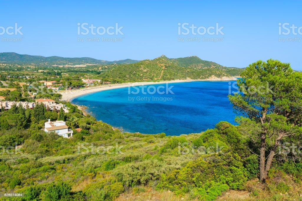 Coast of Sardinia island with view of beautiful Capo Boi bay, Italy stock photo
