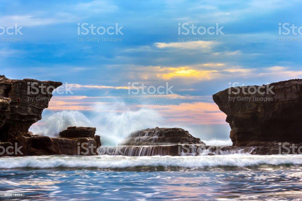 Coast of Tanah Lot Temple, Beraban, Bali, Indonesia. stock photo