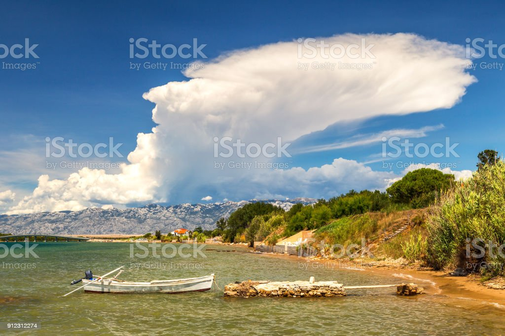 Coast of the Adriatic Sea at The Privlaka village. stock photo
