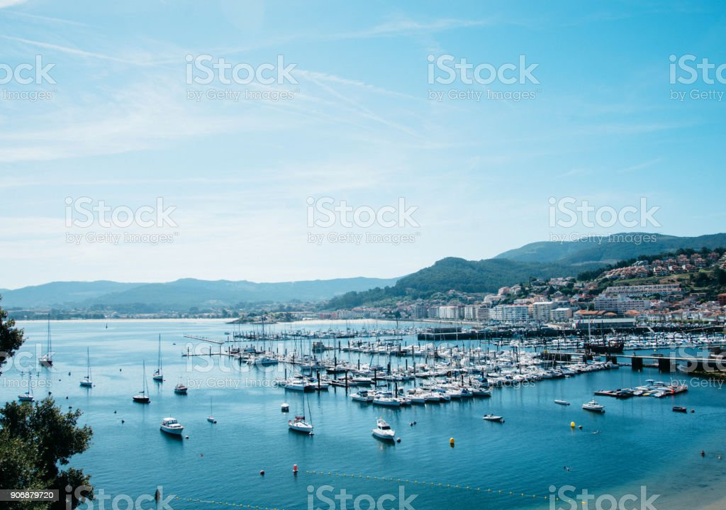 Coast of the Atlantic Ocean with yachts in summer sunny day stock photo