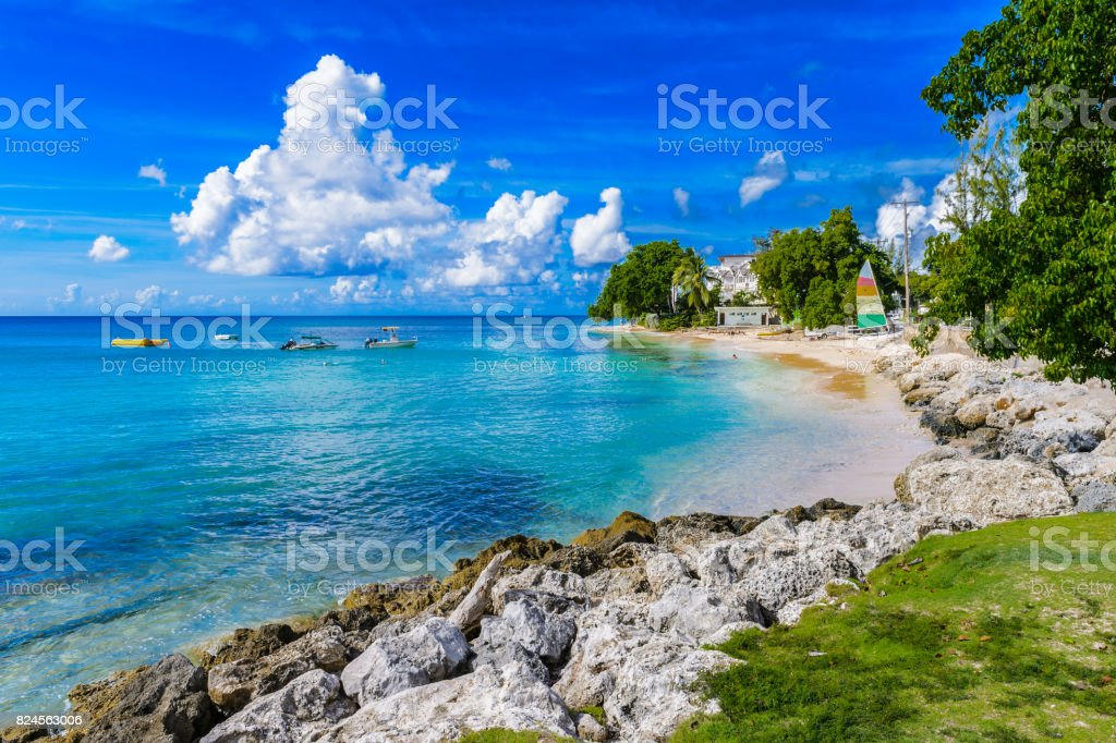 Coast of the Carribean Sea, Bridgetown, Barbados stock photo