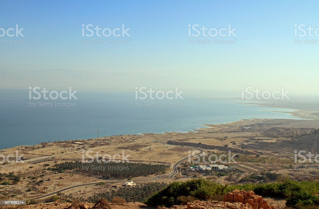 coast of the Dead Sea from the mountain top stock photo