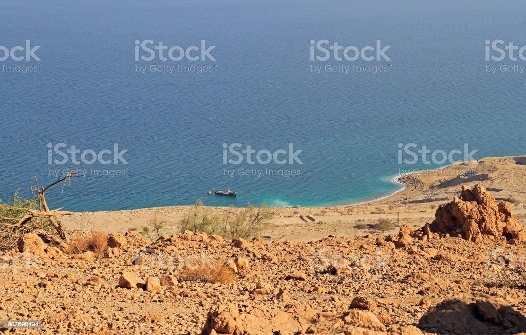 coast of the Dead Sea near Ein Gedi stock photo