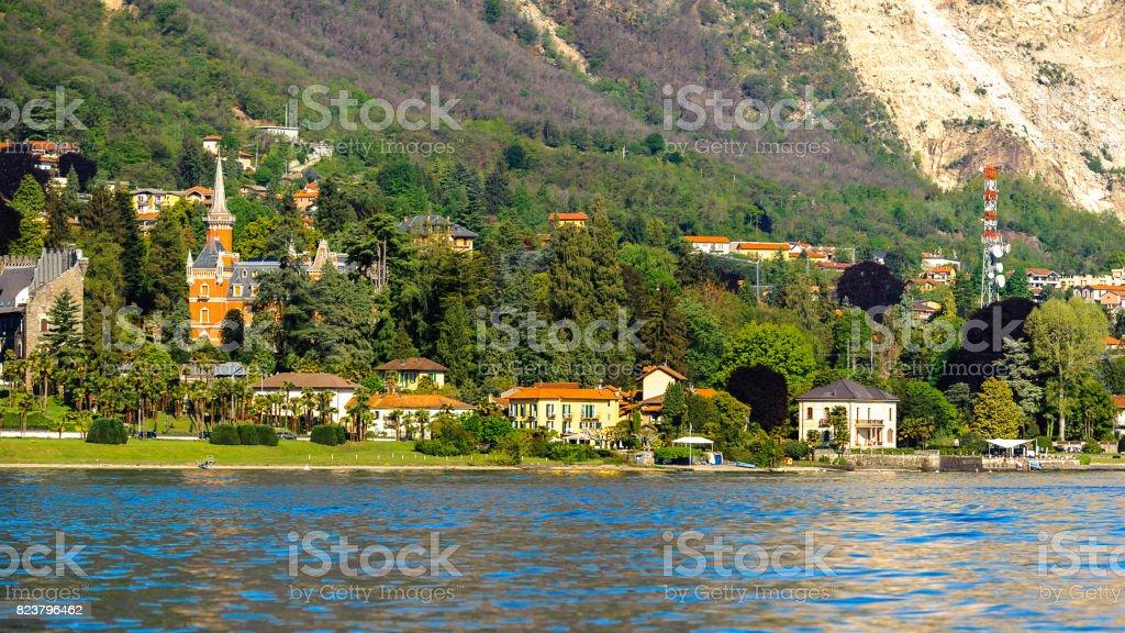 Coast of the Lago Maggiore (Big Lake), Piedmont, Italy stock photo