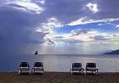 Coast of the Red Sea in Eilat before a thunderstorm in November.