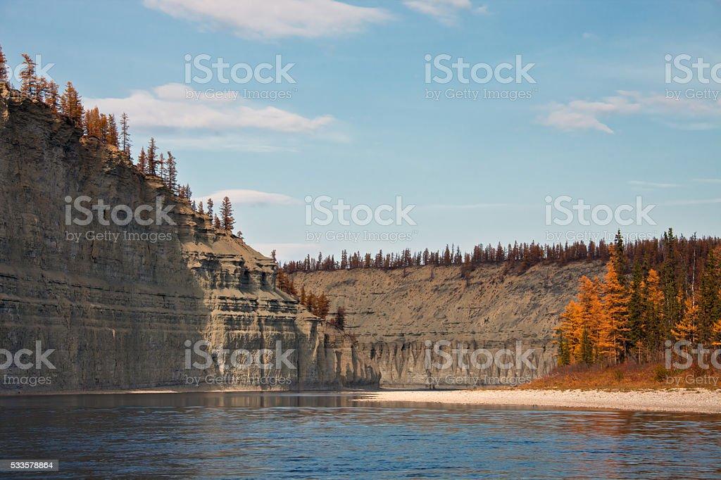 Coast of the Siberian rive stock photo