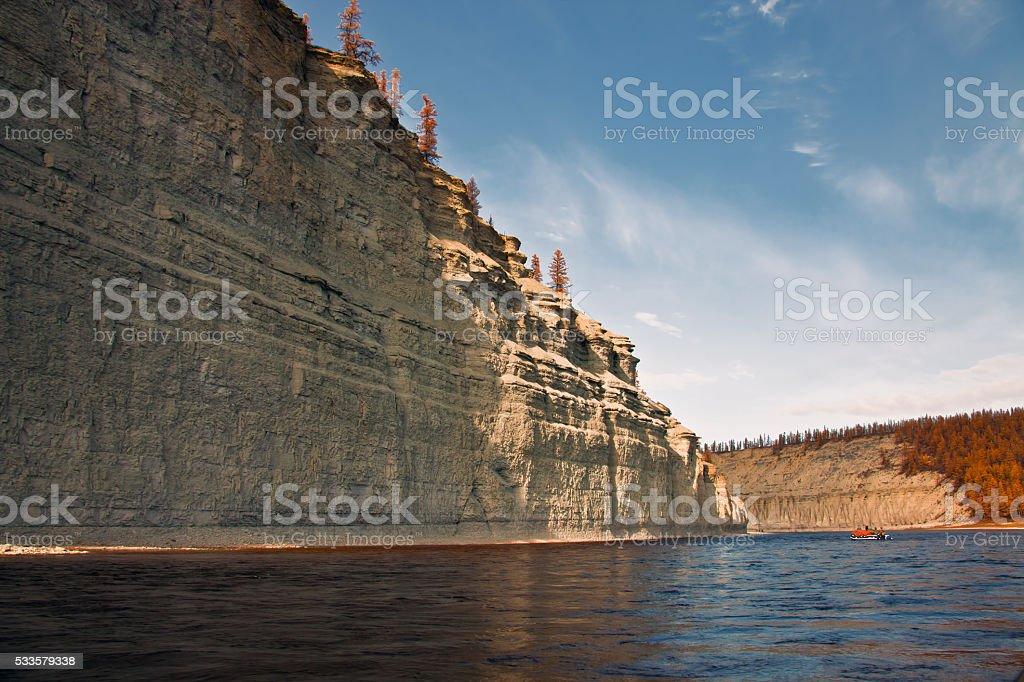 Coast of the Siberian river Moyerokan  fall stock photo