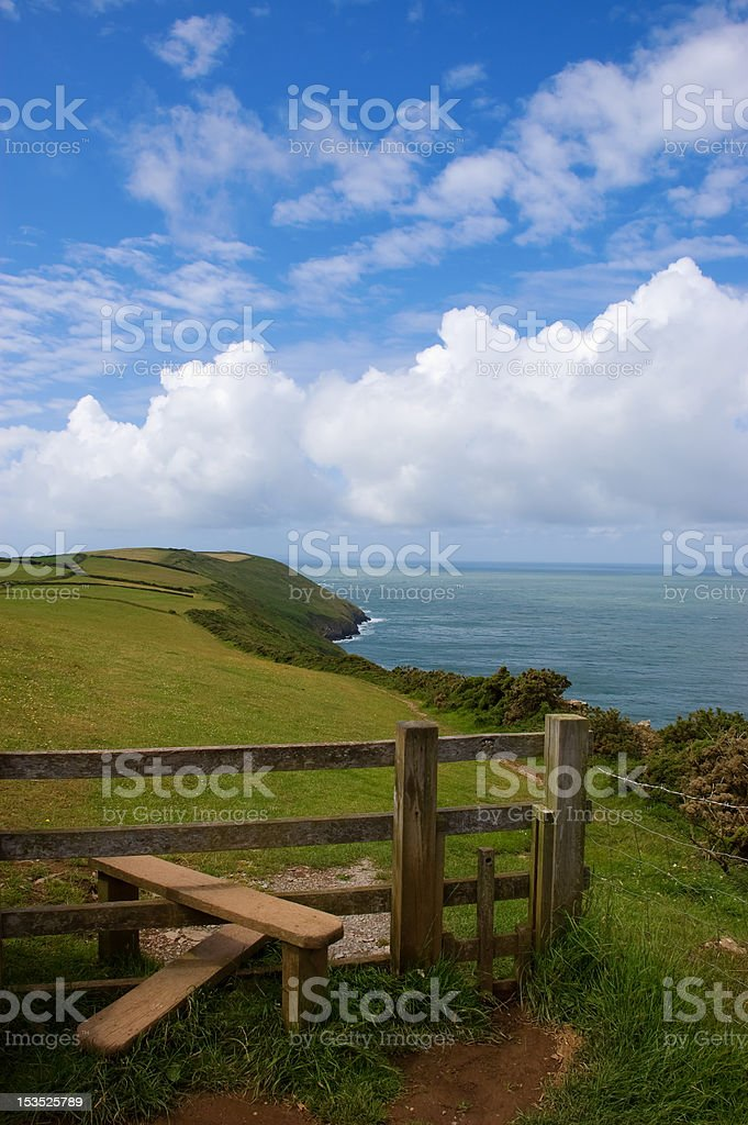 Coast Path and Stile stock photo