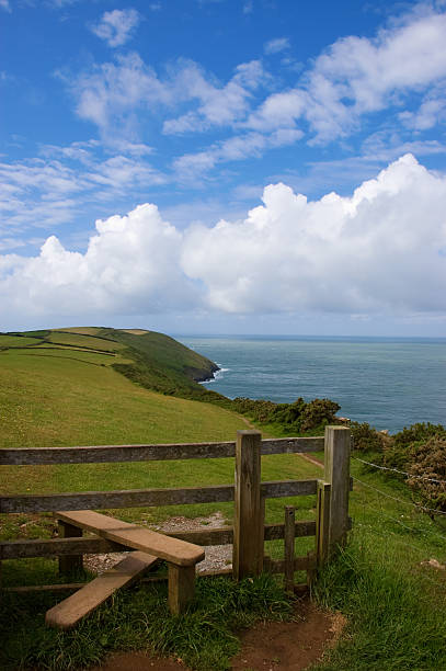 Coast Path and Stile stock photo