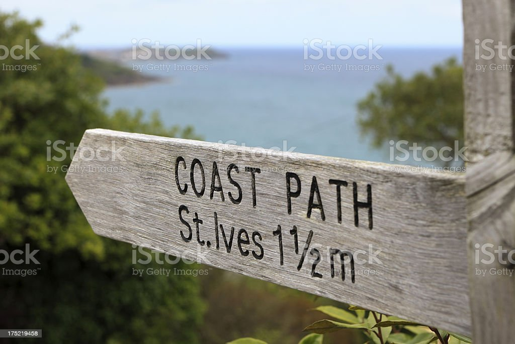 coast path sign to St. Ives royalty-free stock photo