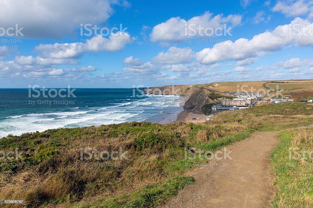 Coast path Watergate Bay Cornwall Cornish north coast near Newquay stock photo