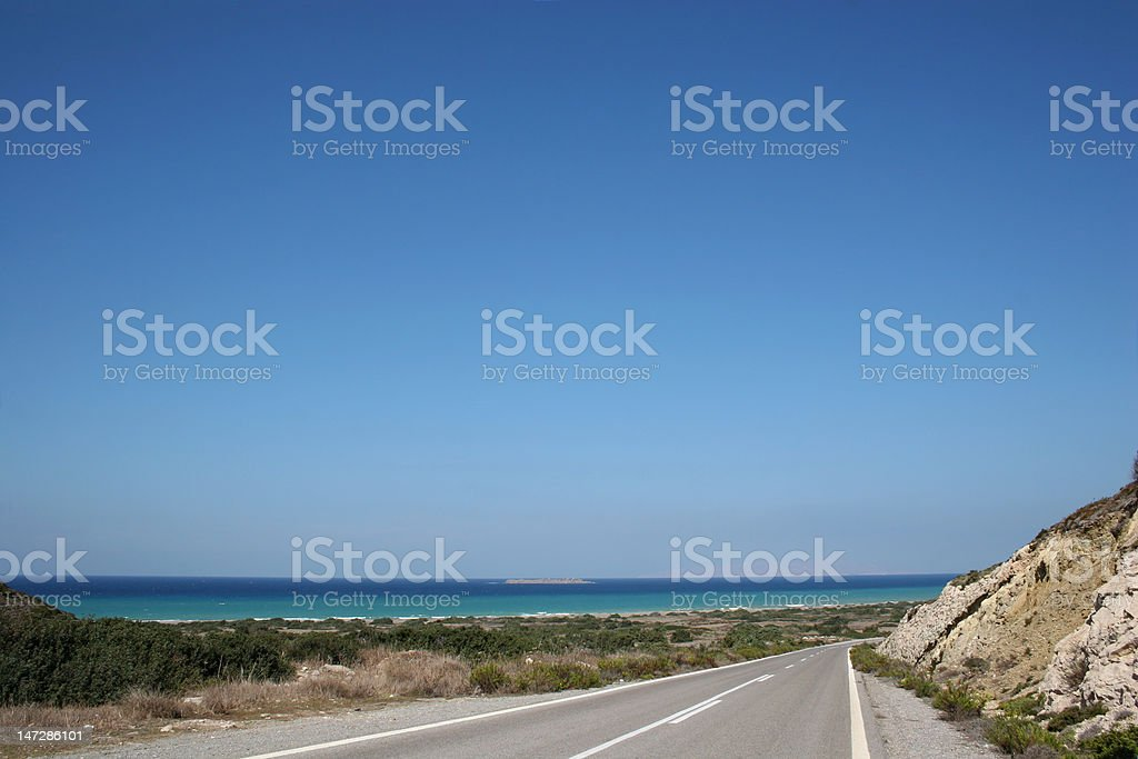 Coast Road to Monolithos stock photo
