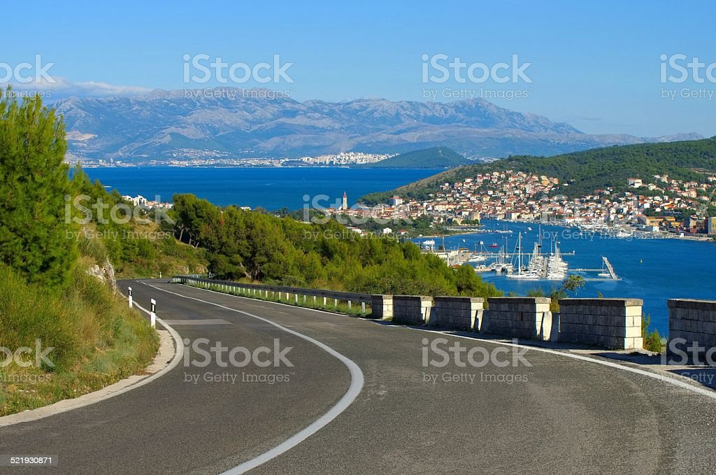 coast road Trogir stock photo